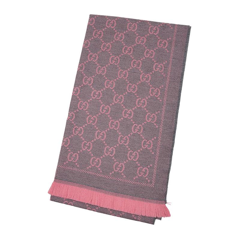 VIP STATION-全新 GUCCI 古馳 頸巾 133483 3G200 1272 羊毛 灰色/粉紅色