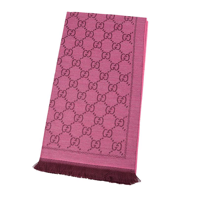 VIP STATION-全新 GUCCI 古馳 頸巾 133483 3G200 5573 羊毛 粉紅色