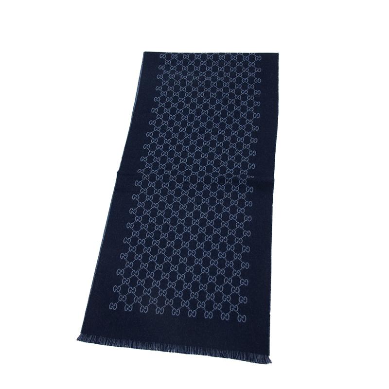 VIP STATION-全新 GUCCI 古馳 頸巾 391246 4G200 4569 羊毛 藍色