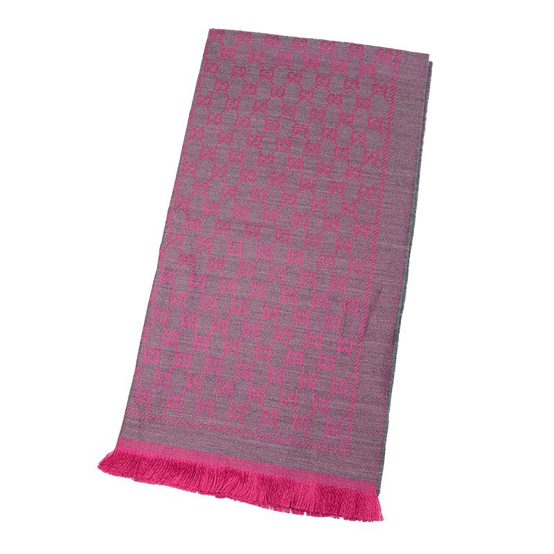 VIP STATION-全新 GUCCI 古馳 頸巾 411115 3G200 1372 羊毛 灰色/粉紅色
