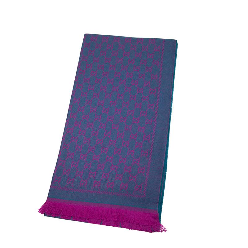 VIP STATION-全新 GUCCI 古馳 頸巾 411115 3G200 4472 羊毛 藍色/紫色