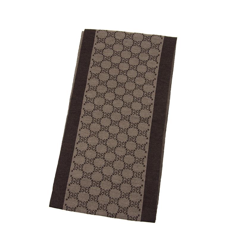 VIP STATION-全新 GUCCI 古馳 頸巾 421068 3G206 2164 羊毛 啡色