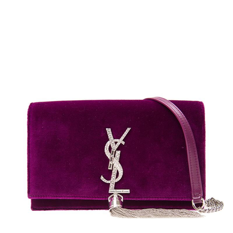 VIP STATION-全新 YSL / SAINT LAURENT 聖羅蘭 手袋 491521 9P01N 5546 絨布 紫色