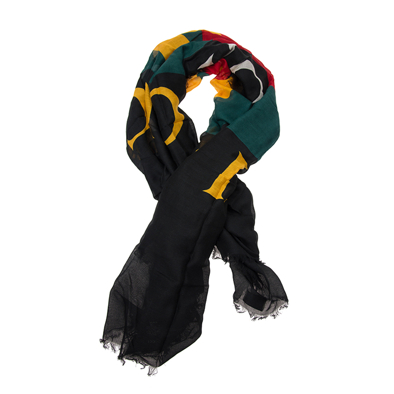 VIP STATION-全新 GUCCI 古馳 頸巾 528953 3G856 1000 絲 黑色/黃色/紅色/綠色