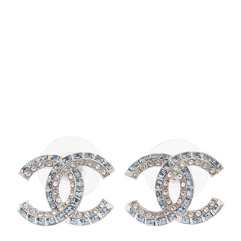 VIP STATION-全新 CHANEL 香奈兒 耳環 AB0900 金屬 銀色/藍色
