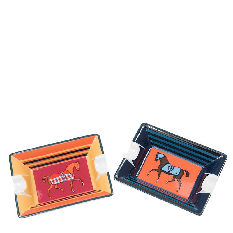 VIP STATION-全新 HERMES 愛馬仕 煙灰缸 紅色底橙色馬/橙色底啡色馬 陶瓷