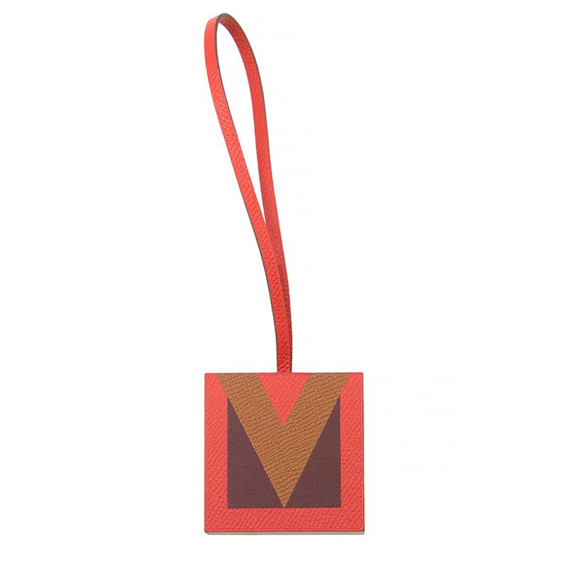 VIP STATION-全新 HERMES 愛馬仕 吊飾 皮革 橙色
