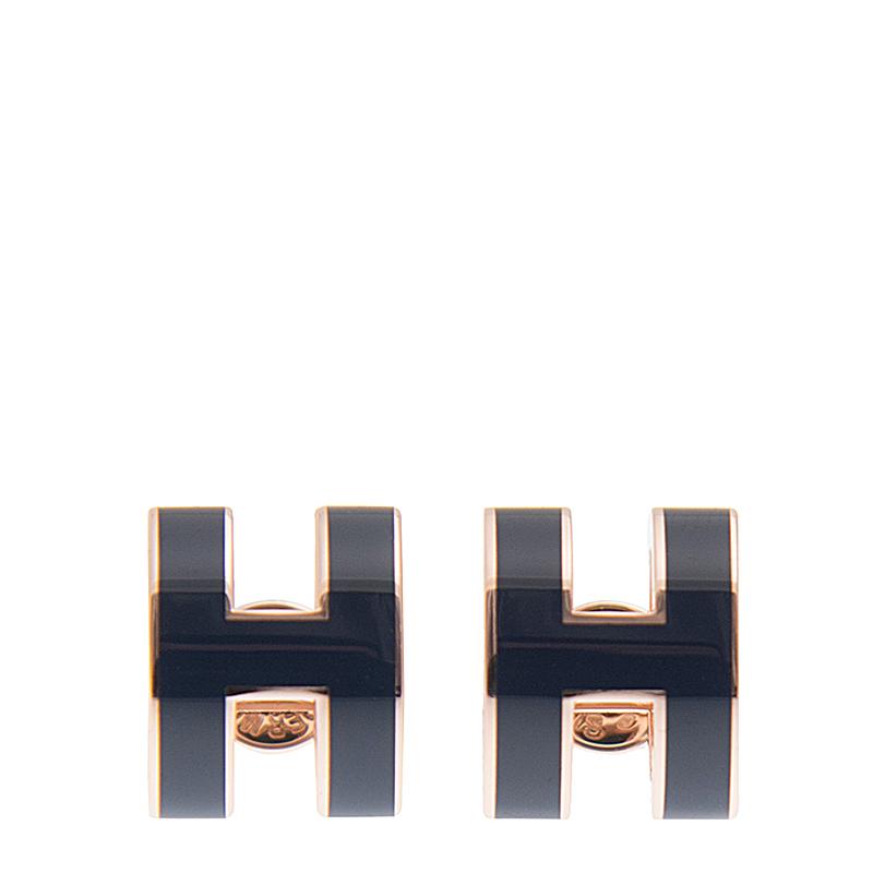 VIP STATION-全新 HERMES 愛馬仕 耳環 H扣 1P 深藍色 圓型 金屬
