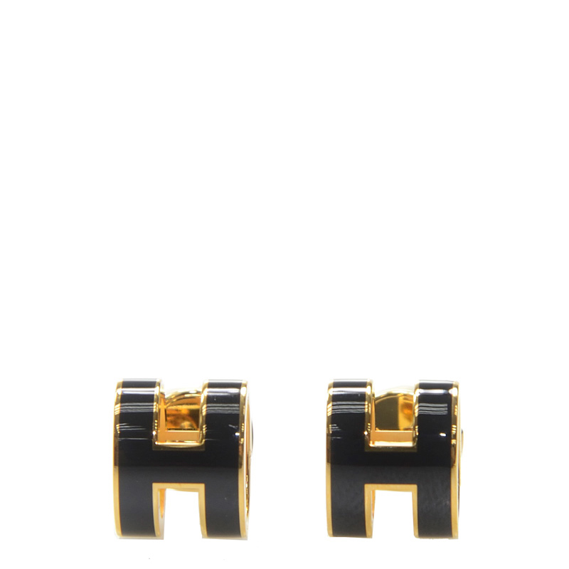 VIP STATION-全新 HERMES 耳環 黑色(89) H 金扣 環型