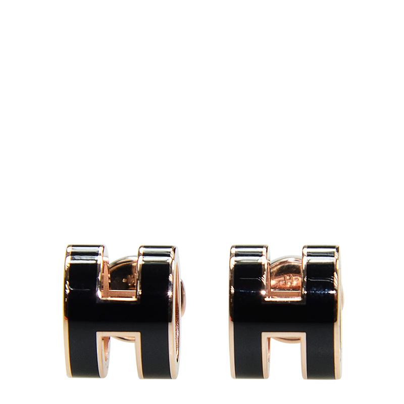 VIP STATION-全新 HERMES 耳環 H 89 黑色 圓型 粉紅金