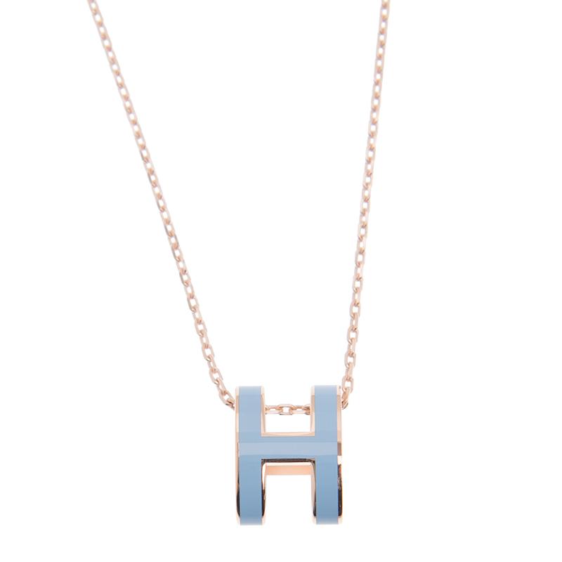 VIP STATION-全新 HERMES 愛馬仕 頸鏈  H LOGO PG/3P 藍色 圓型 金屬