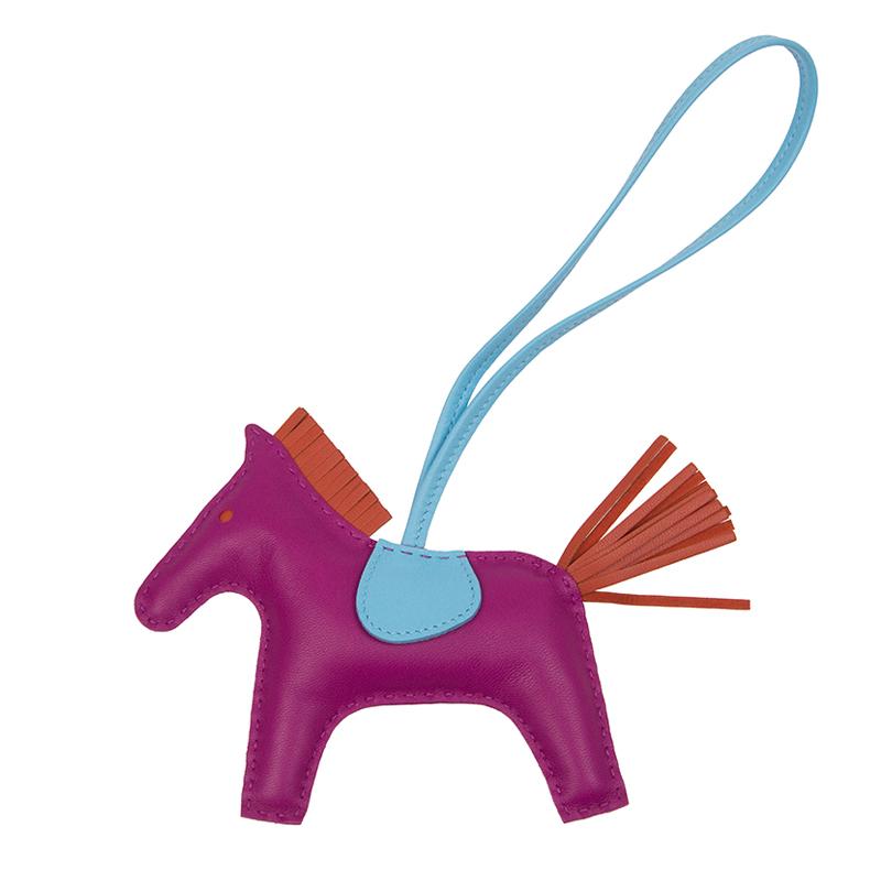 VIP STATION-全新 HERMES 愛馬仕 吊飾 RODEO M 皮革 藍色/紫色