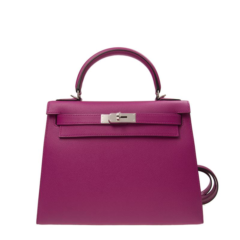 VIP STATION-全新 HERMES 愛馬仕 手袋 KELLY 28 L3 紫色 外縫 EPSOM 銀扣
