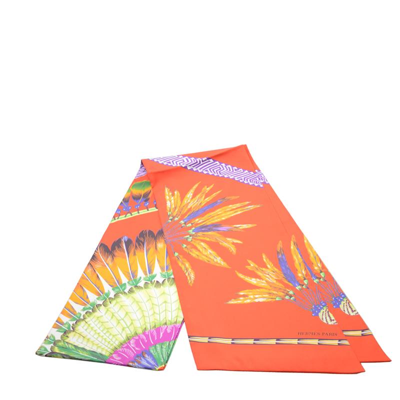 VIP STATION-全新 HERMES 愛馬仕 絲巾 MAXI TWILLY 絲 橙色