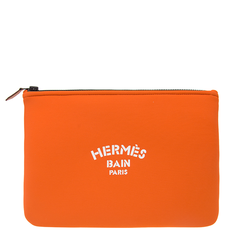 VIP STATION-全新 HERMES 愛馬仕 手袋 POLY TROUSSE FLAT MM R1 橙色 帆布