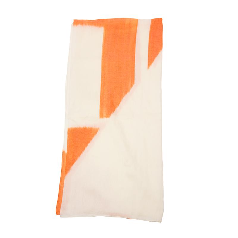 VIP STATION-全新 HERMES 愛馬仕 絲巾 羊毛/絲 白色/橙色