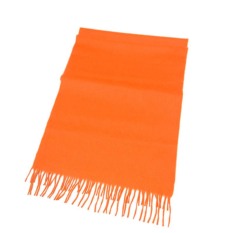 VIP STATION-全新 HERMES 愛馬仕 頸巾 羊毛 橙色