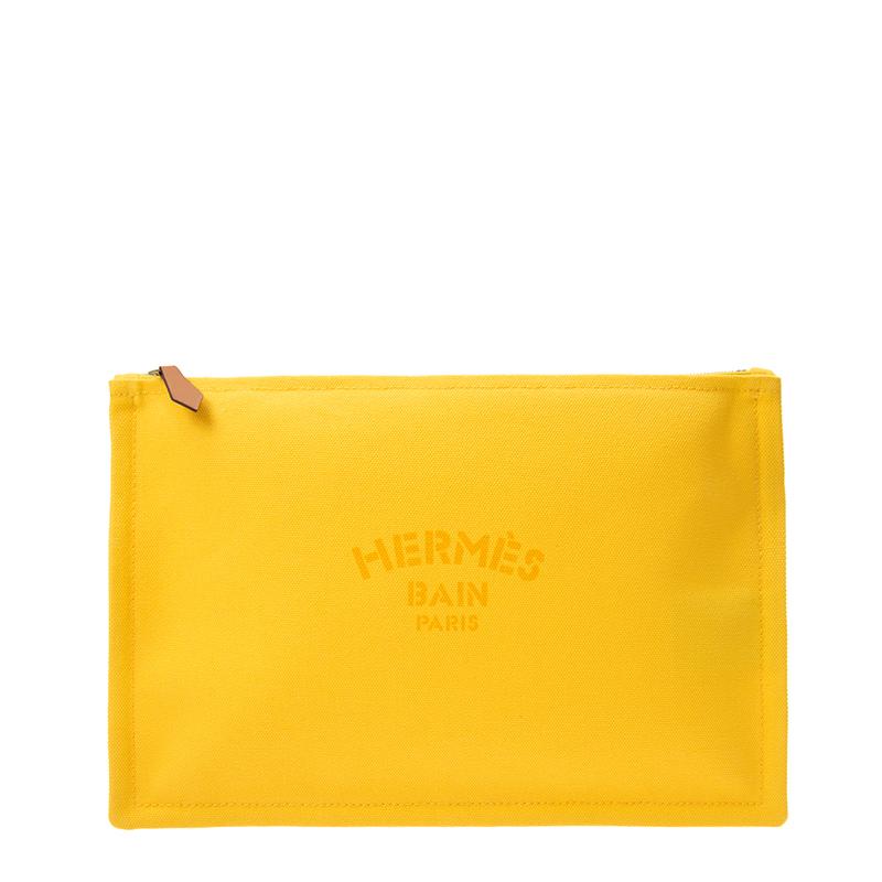 VIP STATION-全新 HERMES 愛馬仕 手袋 TROUSSE FLAT GM 9D 黃色 帆布