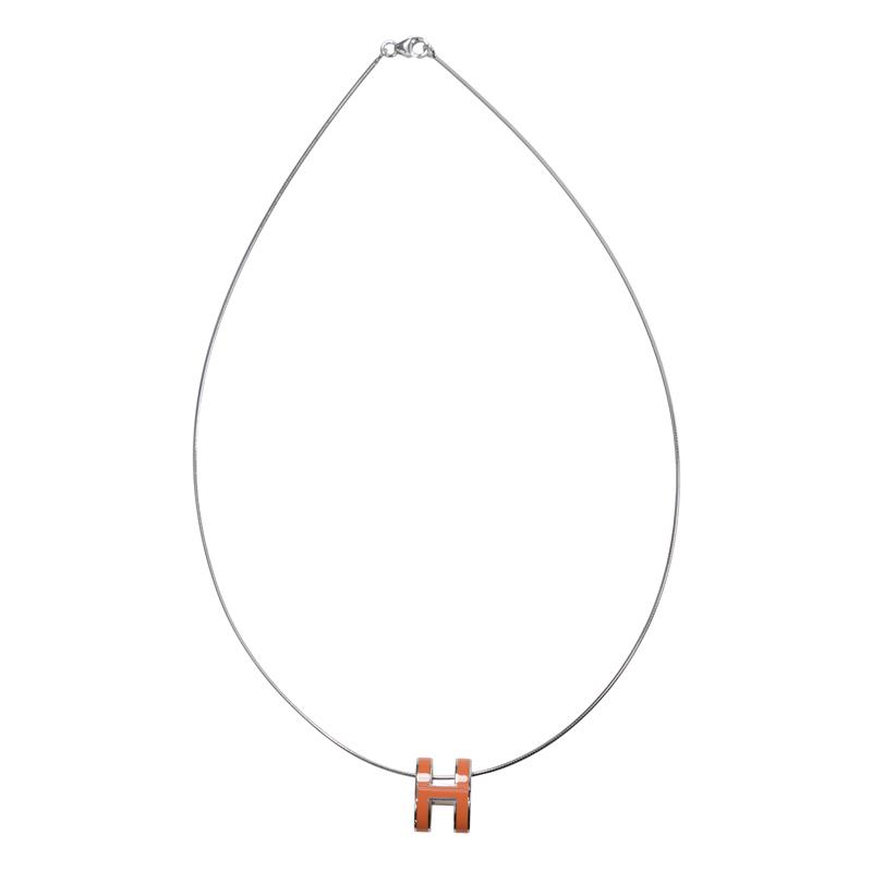 [取り寄せ/新品] HERMES エルメス ネックレス H LOGO オレンジ(93) メタル SS