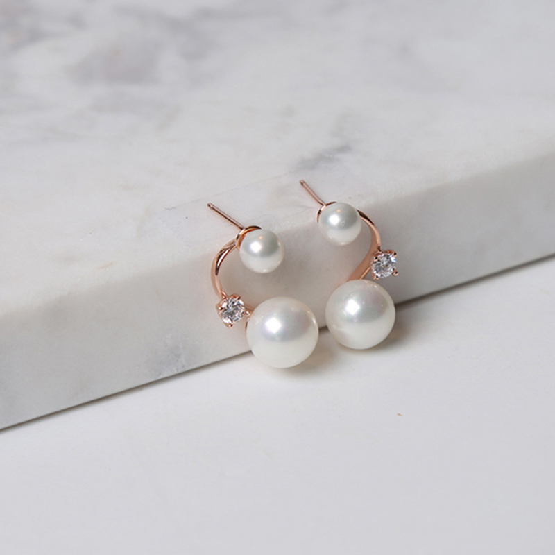 NEW LAMUCHA BRILLER EARRING L16ERP335 PEARL PINK GOLD